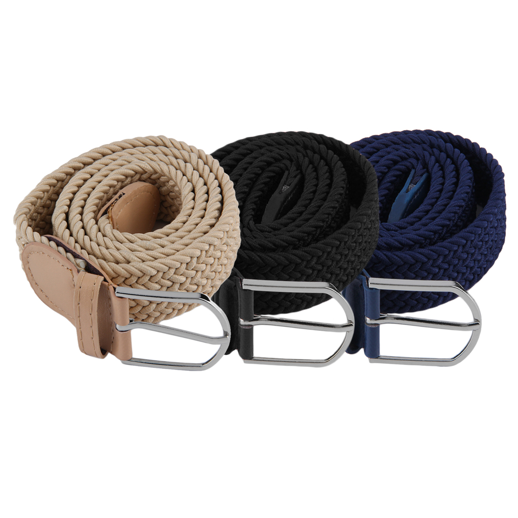 Practical Men's Casual Woven Canvas Braided   Belt   Metal Buckle Stretch Elastic   Belt   Stylish Waistband 3 colors