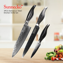 SUNNECKO Slicer UtilityChef Knife 3PCS Kitchen Knives Set Japanese Damascus VG10 Steel Sharp Pakka Wood Handle Cutter Tools