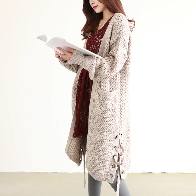 Winter Women's Loose Oversizd Long Sweater Cardigan Coat Autumn ...