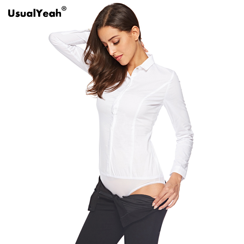 UsualYeah 2018 New Formal   Shirts   Work wear Long sleeve Cotton OL Body   Blouse     Shirt   Button Turn-down Collar blusas White SY0395
