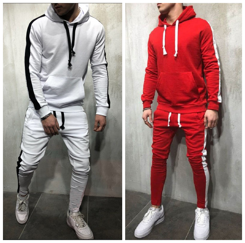 Mens Stripe Tracksuit Joggers Hooded Sweatshirt + Sweatpants 2 Piece Sets Male Red Pullover Hoodies Sportwear Sweat Suit For Man