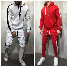 Mens Stripe Tracksuit Joggers Hooded Sweatshirt + Sweatpants 2 Piece Sets Male Red Pullover Hoodies Sportwear Sweat Suit For Man