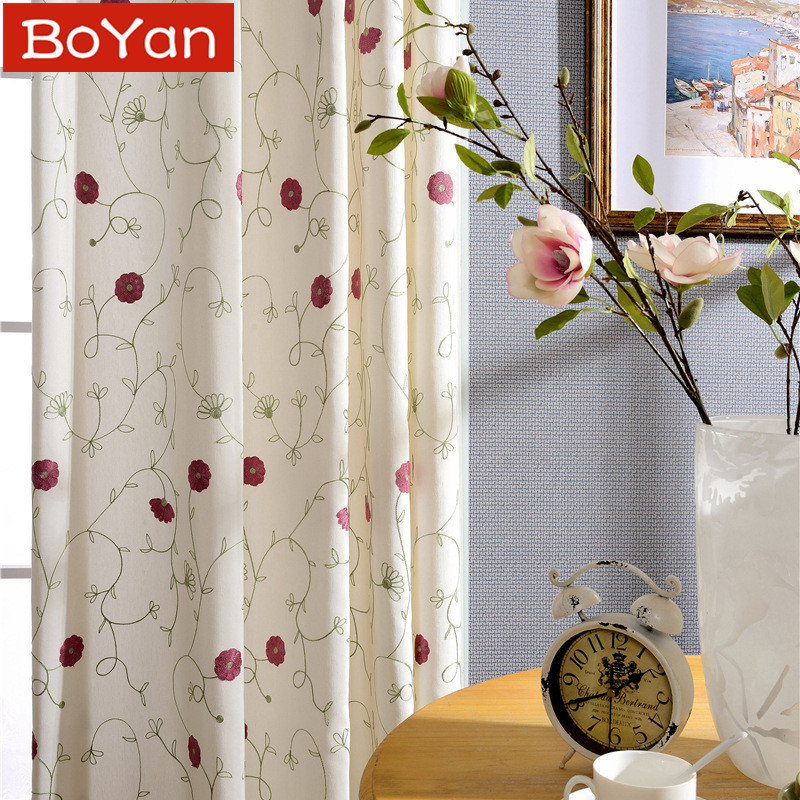 US Latest 2 Colors Europe Style Eco Cotton Polyester Red Floral Window Curtain For Living Room Embroidered Window Treatment Drapes In Curtains