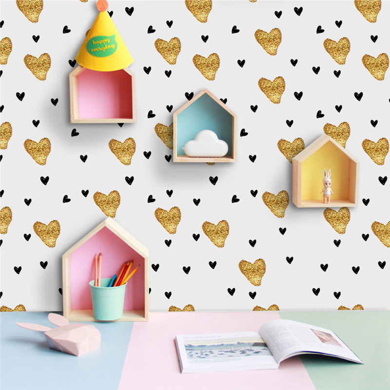 New Gold Love Heart Wall Sticker Modern Vinyls Decal for Bedroom  Livingroom Home Decor Waterproof Removable Wallpaper Hot