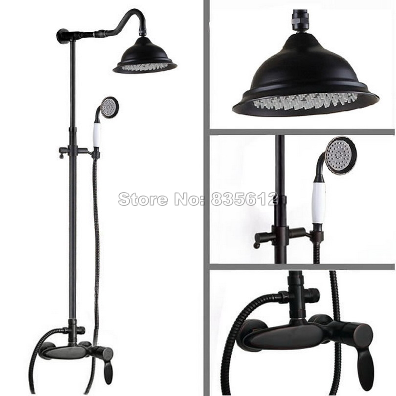 Luxury Black Oil Rubbed Bronze Rain Shower Faucet with Ceramic Handheld Shower Bathroom Wall Mounted Mixer Tap Wrs722