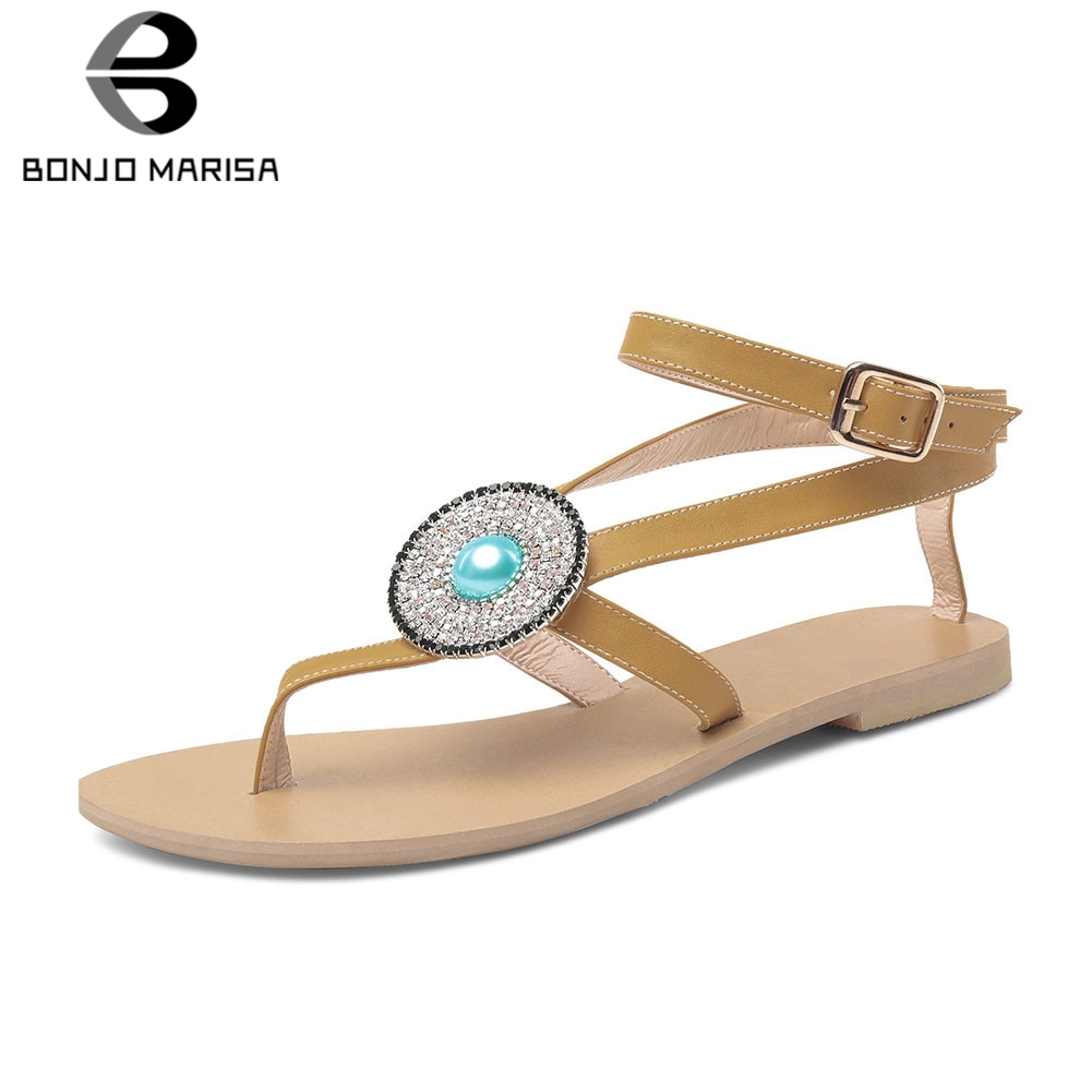 BONJOMARISA New Fashion INS Hot Plus Size 33-45 Luxury Crystal Summer Sandals 2019 Shoes Woman Casual Soft Dropship SandalsBONJOMARISA New Fashion INS Hot Plus Size 33-45 Luxury Crystal Summer Sandals 2019 Shoes Woman Casual Soft Dropship Sandals