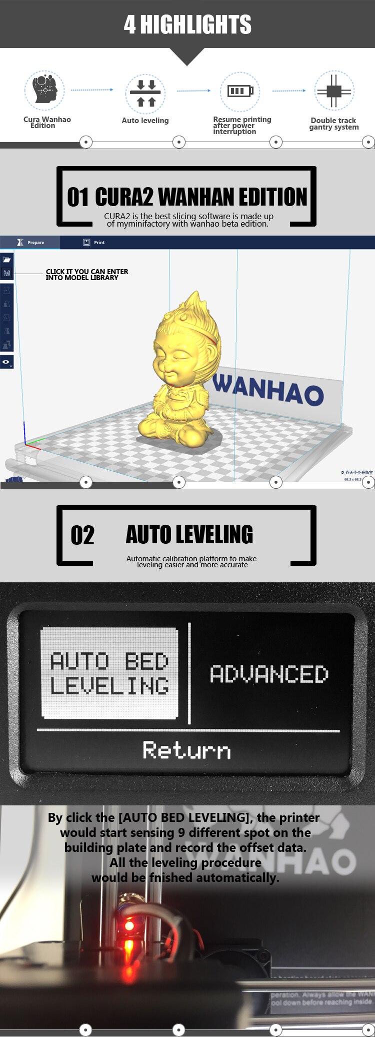 Wanhao fdm 3d impressora d6 plus com