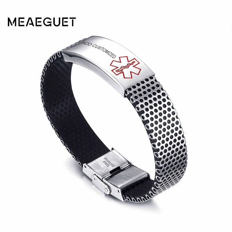Customized Personalized Diabetes Medical Alert ID Bracelet Bangle For Men Stainless Steel Silicone Wristbands