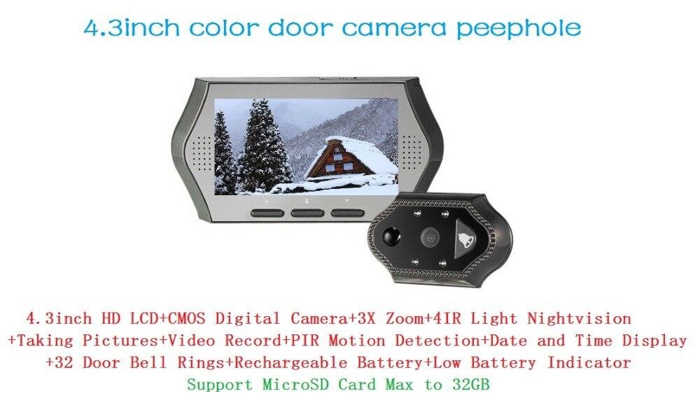 ФОТО 2017 New wireless door peephole camera video-eye IR Night vision 3X Zoom PIR Motion Sensor 32Rings Video Recording+Photos Taking