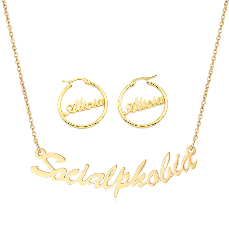 1 Pair Personalized Custom Name Earrings Necklaces For Women Men Cursive Customized Nameplate Stainless Steel Best Friend Girls
