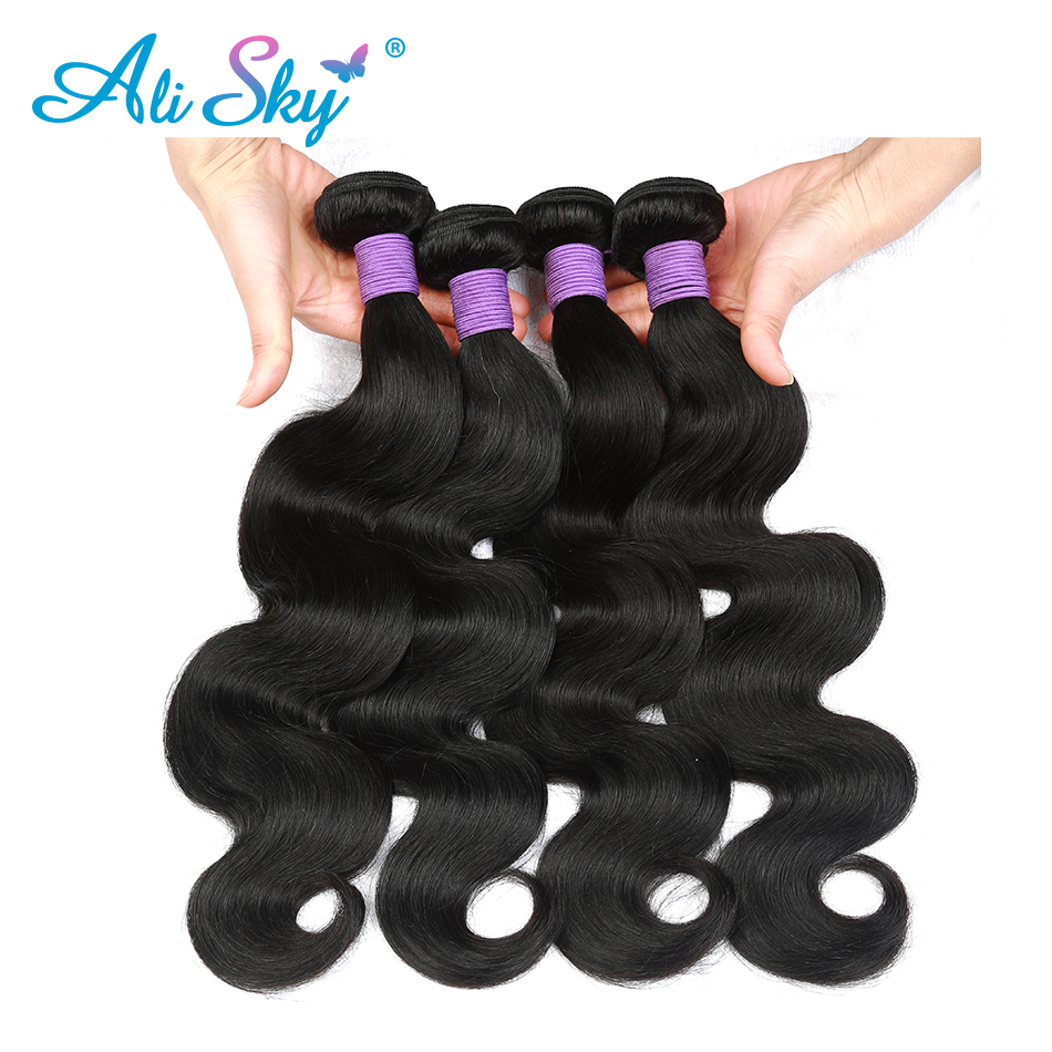 Brazilian Body Wave 4bundles Ali Sky 100 human hair extensions 8 30 inches double weft natural