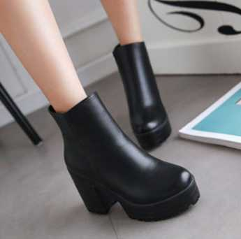 GOSAJUJE 2017 spring hot new fashion women ankle boots high-heeled european style non-slip martin boots women large size42 43 spring 2016 new arrive women fashion boots solid casual boots round waterproof high heeled women boots stretch stovepipe boots