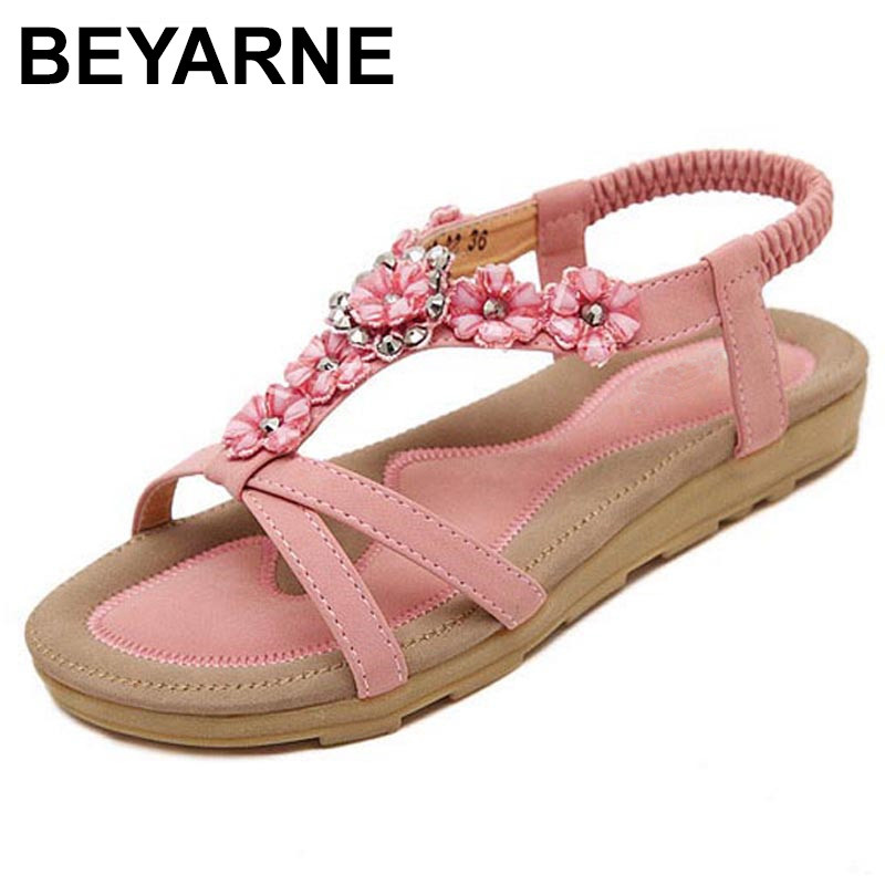 BEYARNE Free Shipping New Fashion Women Sandals 2017 Flower Crystal Summer Sandals Bohemia Casual Flat Woman Shoes beyarne free shipping new fashion women sandals 2017 flower crystal summer sandals bohemia casual flat woman shoes
