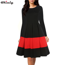 Oxiuly Casual Autumn Winter Dress Full Sleeve Women Black and Red Patchwork Pleated Dress Elegant Office Work Dresses