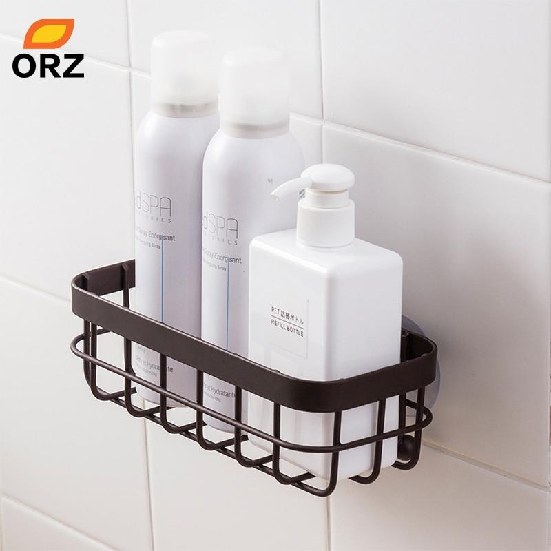 ORZ Bathroom Organizer Shelf Wall Mount Storage Rack Shampoo Shower Holder Kitchen Storage Organizer Basket Bathroom Accessories