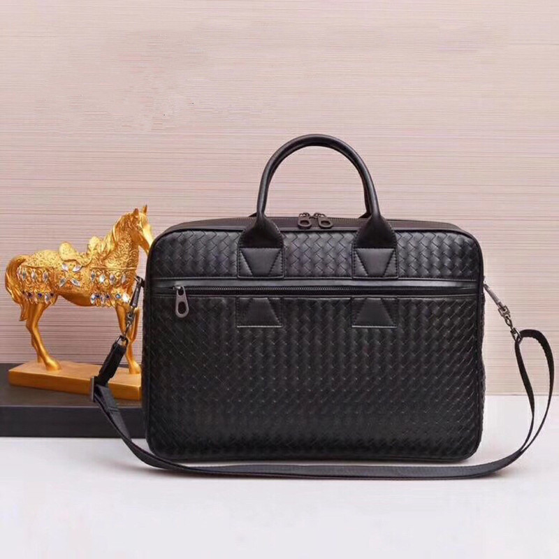 Kaisiludi Leather Hand-woven Men's Bag Handbag Men's Leather Briefcase Business Casual Computer Bag Fashion Men And Women