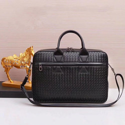 Kaisiludi leather hand-woven mens bag handbag mens leather briefcase business casual computer bag fashion men and women
