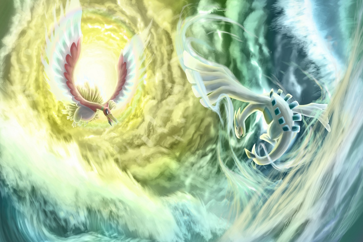 clouds ho oh lugia pokemon water dragon fantasy kd030 living room
