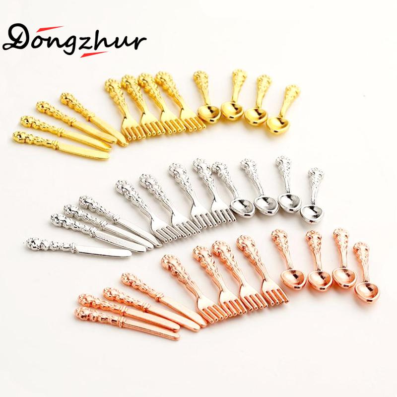 12PCS/set Mini Vintage Dollhouse Miniatures Tableware Cutlery Gold Silver Knife Fork Spoon Childrens Toy Doll House Mini Cutler