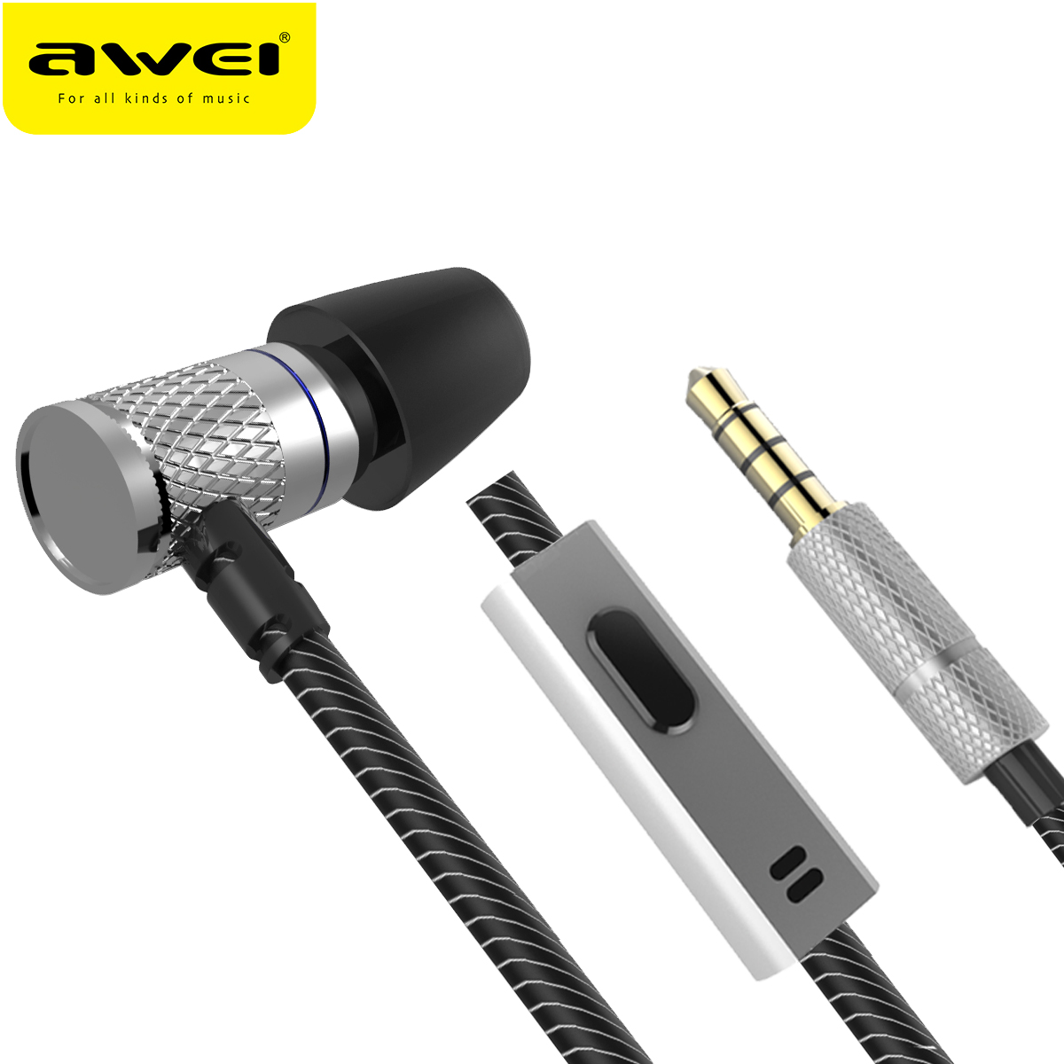 AWEI ES-660I In-Ear Wired Earphone Metal Headset HIFI fone de ouvido Audifonos Casque Heavy Bass Earbuds Headset With Mic awei es 70ty 3 5mm aux audio in ear earphone metal heavy bass sound music headset with mic fone de ouvido earphone for phone
