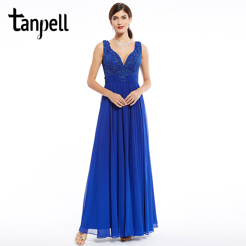 Tanpell long evening dress royal blue floor length sleeveless beaded appliques dress formal party chiffon v