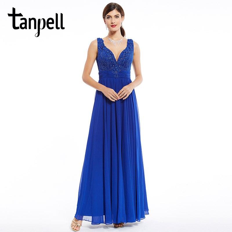 Tanpell long   evening     dress   royal blue floor length sleeveless beaded appliques   dress   formal party chiffon v neck   evening     dresses