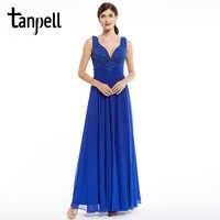 Tanpell longue robe de soirée bleu royal étage longueur sans manches perlée appliques robe formelle fête en mousseline de soie col en v robes de soirée