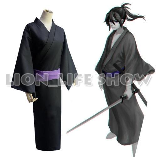 Universal Summer Matsuri Mens Noragami Yato Black Kimono Yukata Cosplay Costume