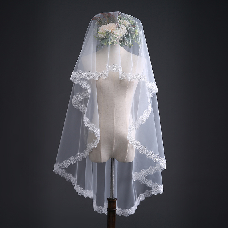 1.5M Lace Edge Short Bridal Veils One Layers Tulle Bridal Veil Cheap Wedding Accessories Veu De Noiva