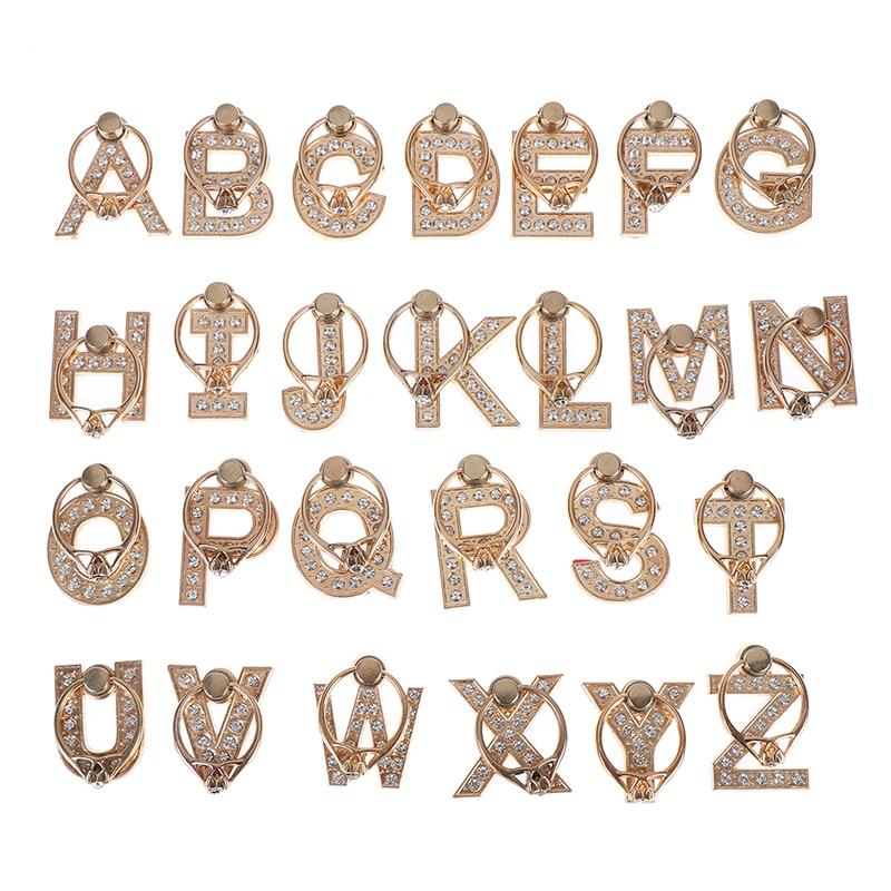 1pc 360 Degree Diamond Metal Letter A-Z Finger Ring Smartphone Stand Holder Mobile Phone Holder For All Phone