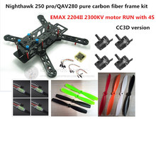 DIY mini drone FPV race quadcopter Nighthawk 250 pure carbon frame run with 4S kit CC3D + EMAX MT2204 II 2300KV + 12A ESC