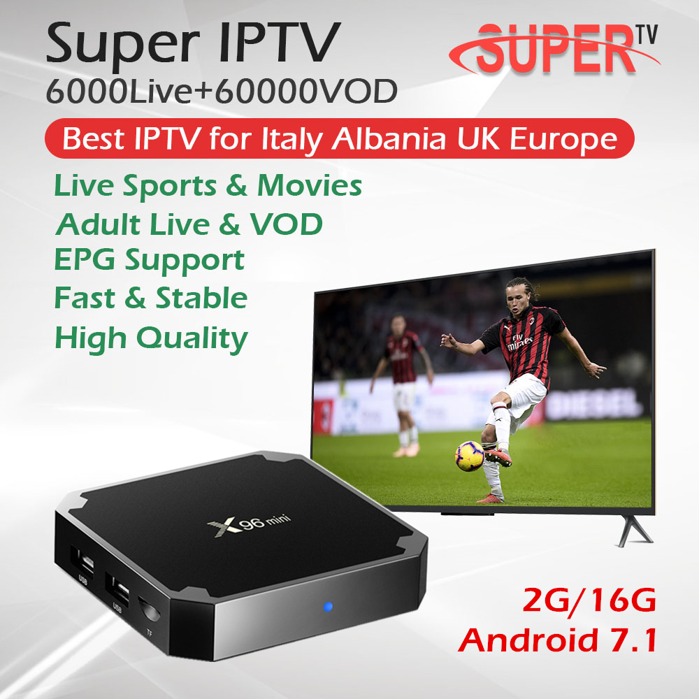 Super italie IPTV X96Mini 2G/16G Android 7.1 Smart TV BOX Europe UK allemagne albanie IPTV Box 6000Live 60000VOD Hotclub adulte IPTV-in Décodeurs TV from Electronique    1