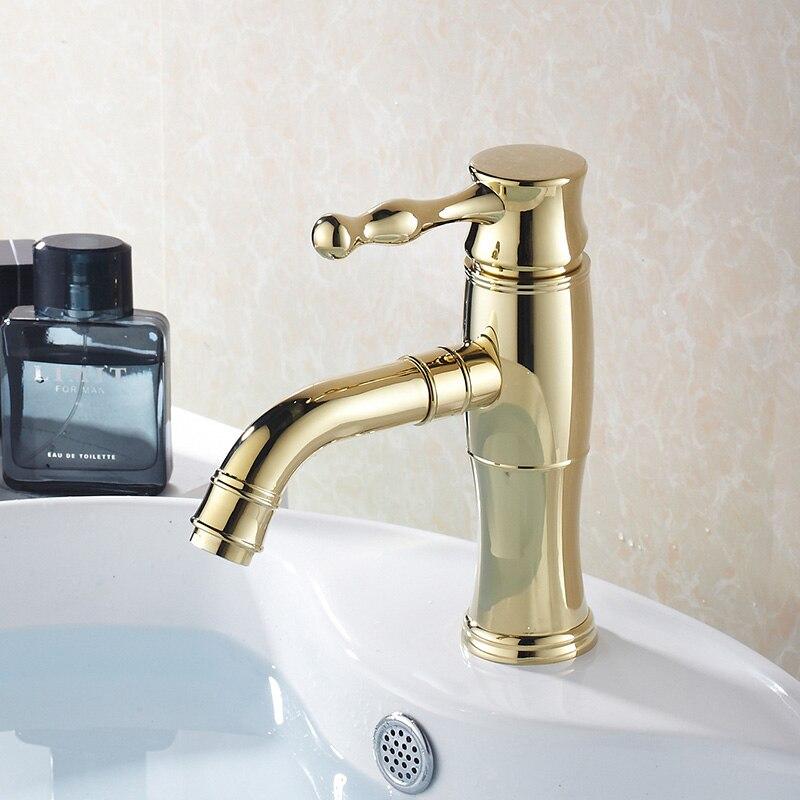 Antique or/Chrome bassin robinet comptoir poignée unique chaud et froid évier mélangeur robinet salle de bains accessoires de haute qualité eau grue