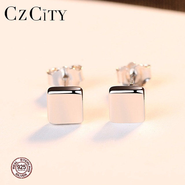 CZCITY Square Small Women Silver Stud Earrings for Women Simple Style Girl Miss Female Gift 2018 New Trendy Party Fine Jewelry 1