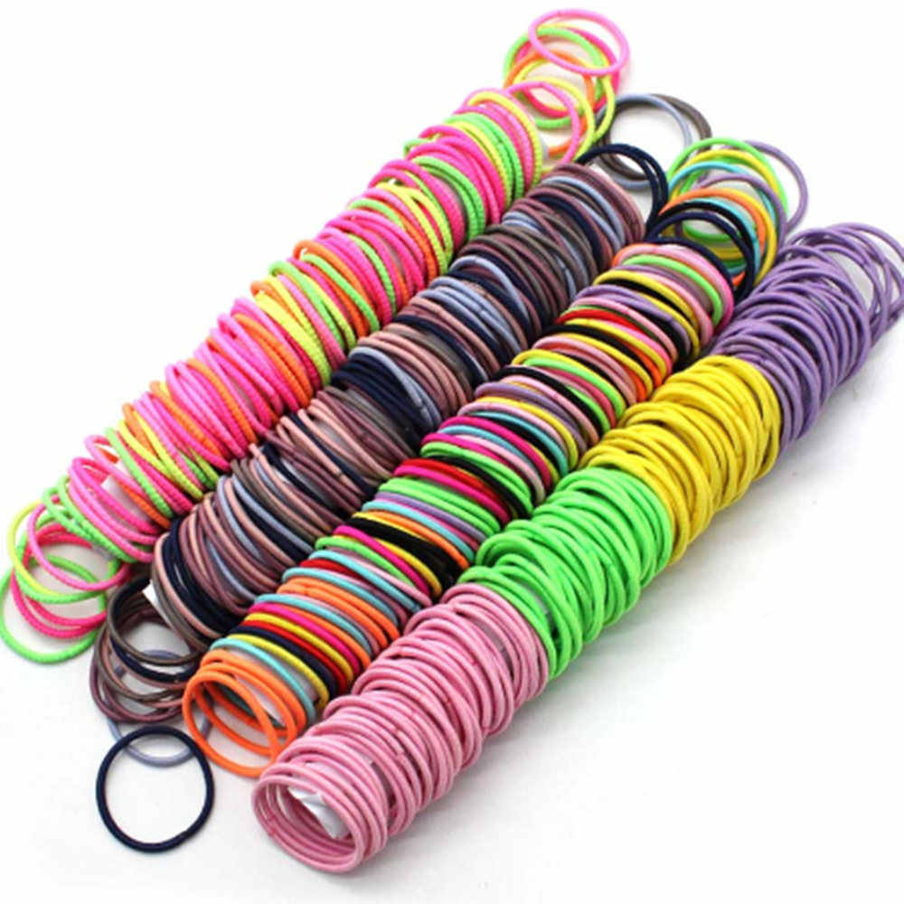 100 шт./лот, цветные эластичные резинки для волос для девочек, резинки для волос, повязка на голову, резинка для волос, Детские аксессуары для волос