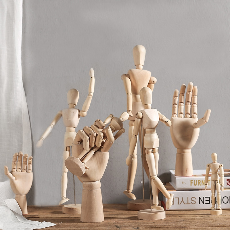ยุโรปสไตล์ Movable Lotus ไม้ Man Joint มือรุ่น Creative Sketch Art การพัฒนาสติปัญญาของเด็กของเล่นตกแต่งบ้าน