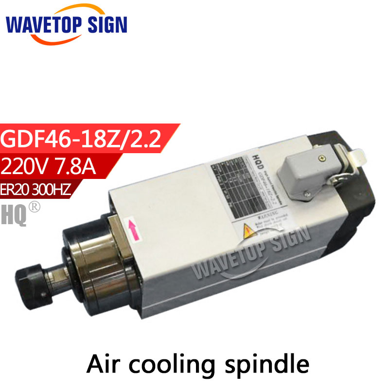 air cooling spindle GDF46-18Z-2.2 2.2kw 220V 5.6A GDF46-18Z-2.2 2.2kw 220V 7.8A 18000rpm 300HZ air cooling chuck nut ER20 cnc dc spindle motor 500w 24v 0 629nm air cooling er11 brushless for diy pcb drilling new 1 year warranty free technical support