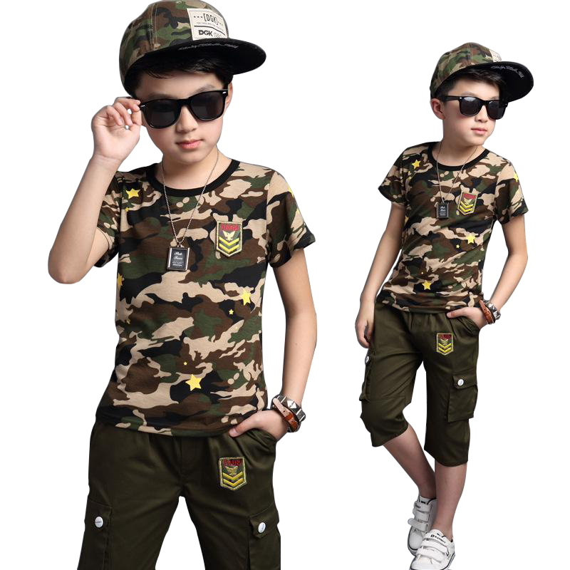 2018 Summer Military Kds Clothes Camouflage 2PCS Pants + Short-Sleeved T-Shirt Boys Clothing Sets Sports Casual Kids Tracksuit 2016 summer boys short sleeved t shirt two piece children s sports suit camouflage uniforms boys