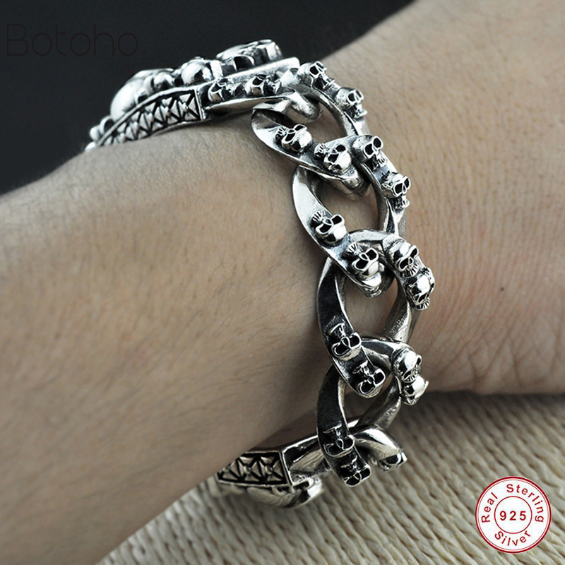 Bracelets en argent sterling crâne hommes 925 charme hommes squelette Bracelet Vintage crâne os sculpture chaîne serrure bracelet en sterling