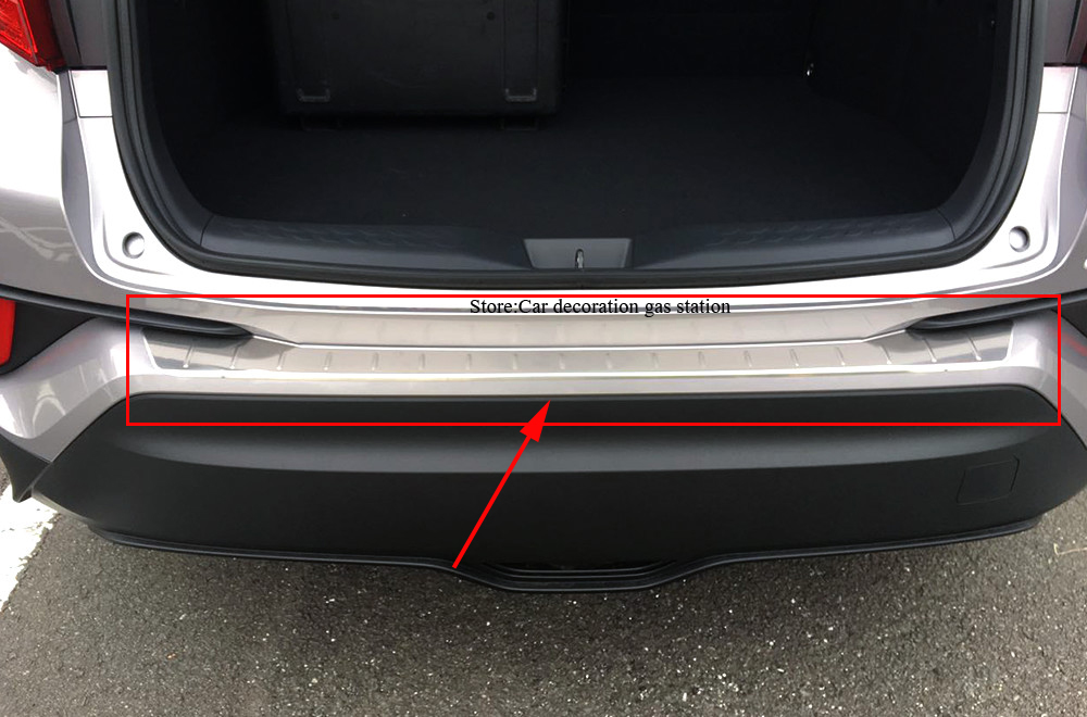 ACCESSORIES FIT FOR TOYOTA C-HR CHR 2017 REAR BUMPER PROTECTOR STEP PANEL BOOT COVER SILL PLATE TRUNK TRIM for toyota chr c hr 2016 2017 2018 steel rear bumper protector car boot trim rearguards sticker trunk guard sill plate scuff