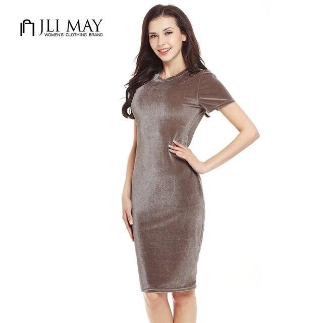 JLI MAY Velvet Sheath bodycon Dress office work wear women elegant Slim midi dresses O-Neck short Sleeve casual Autumn summer