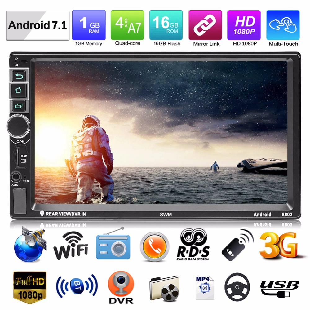 2019 Upgraded 8802 2Din Car MP5 Player Android 7 1 GPS Navi Bluetooth Quad Core Car