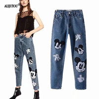 Mickey Mouse Women Jeans For Woman Fashion Denim Pants Ankle Slim Cartoon Print Jean Femme Original single free delivery