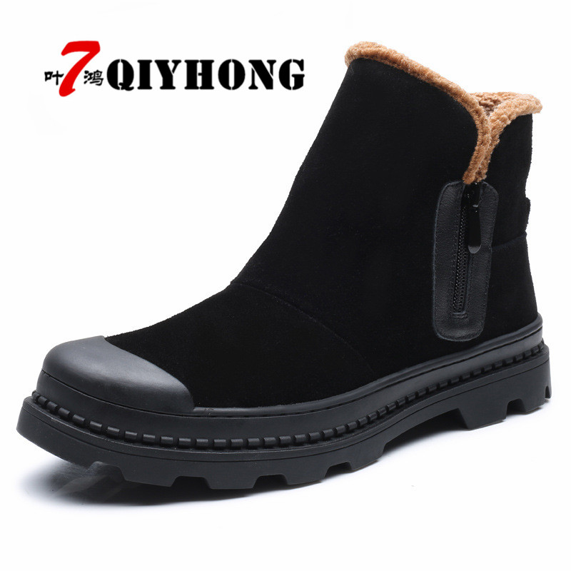 Fashion Handmade Cow Suede Men Boots Winter New Slip on Keeping Warm Men Snow Boots Side Zipper Furry Flats Men Ankle Boots