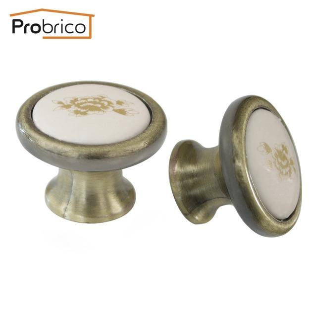 Probrico 100 PCS Porcelana Gabinete Alça de Bronze Antigo Único Furo de Cerâmica Gaveta Knob Pull Diâmetro 37mm PS26016AB