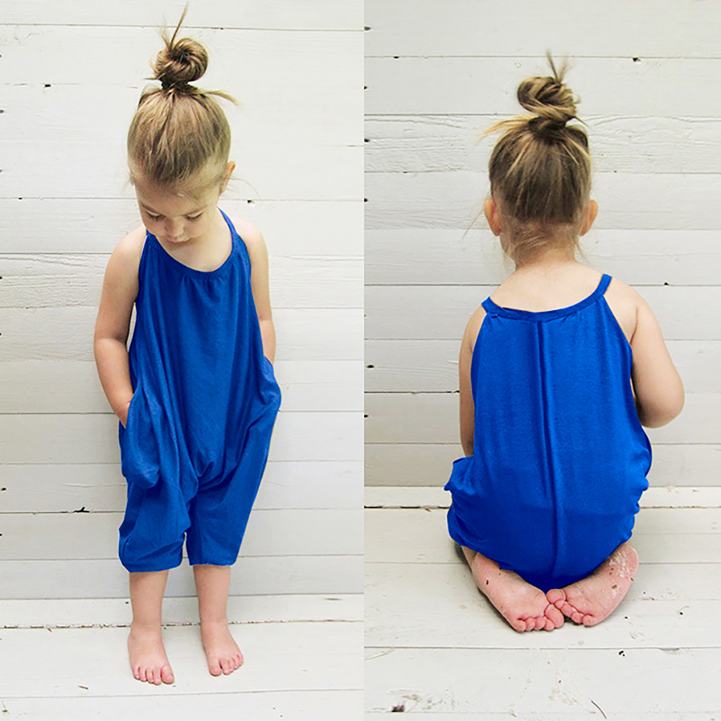 Summer Playsuit Strap Loose Baby Romper Backless Kids Girl Jumpsuit Sleeveless