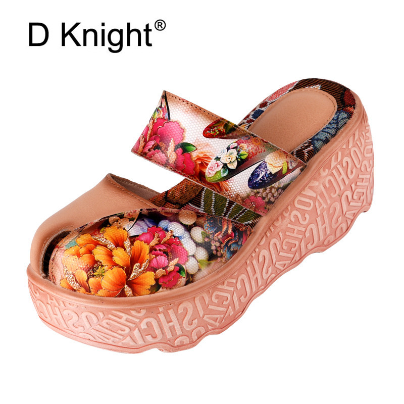 D Knight Brand Fashion Flip Flops High Wedges Handmade Flower Slides Genuine Leather Slippers For Women