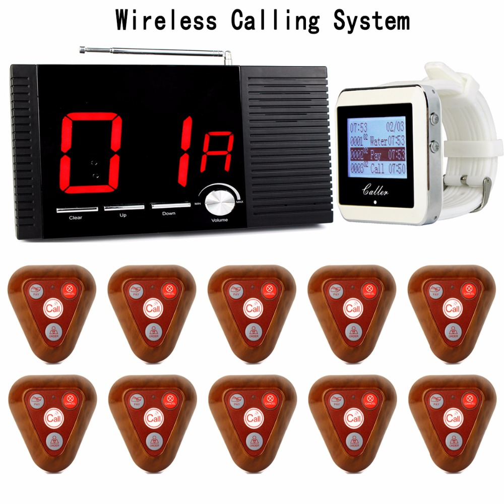 Wireless Restaurant Calling System 1pcs Receiver Host+1pcs Watch Wrist Receiver+10pcs Call Transmitter Button 433MHz F3286F restaurant pager wireless calling system 1pcs receiver host 4pcs watch receiver 1pcs signal repeater 42pcs call button f3285c
