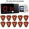 Wireless Restaurant Calling System 1pcs Receiver Host+1pcs Watch Wrist Receiver+10pcs Call Transmitter Button 433MHz F3286F