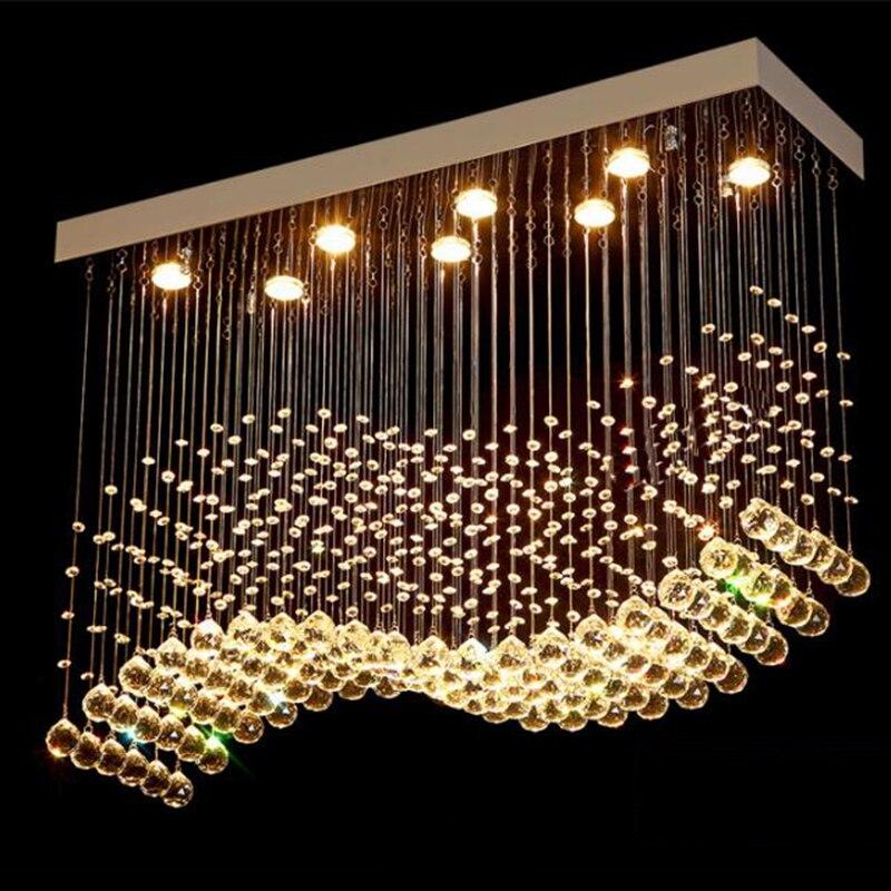 K9 Crystal Chandeliers LED  Chrome Finished Light Wave Art Decor Modern Suspension Lighting Hotel Villa Hanging Lamp